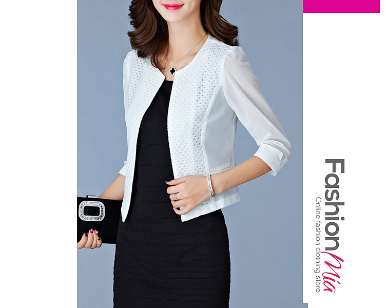 material:polyester, sleeve:three-quarter sleeve, embellishment:patchwork, pattern_type:hollow out*plain, how_to_wash:cold  hand wash, occasion:office, season:autumn*spring, package_included:top*1, length:53,shoulder:36,sleeve length:42,bust:80,