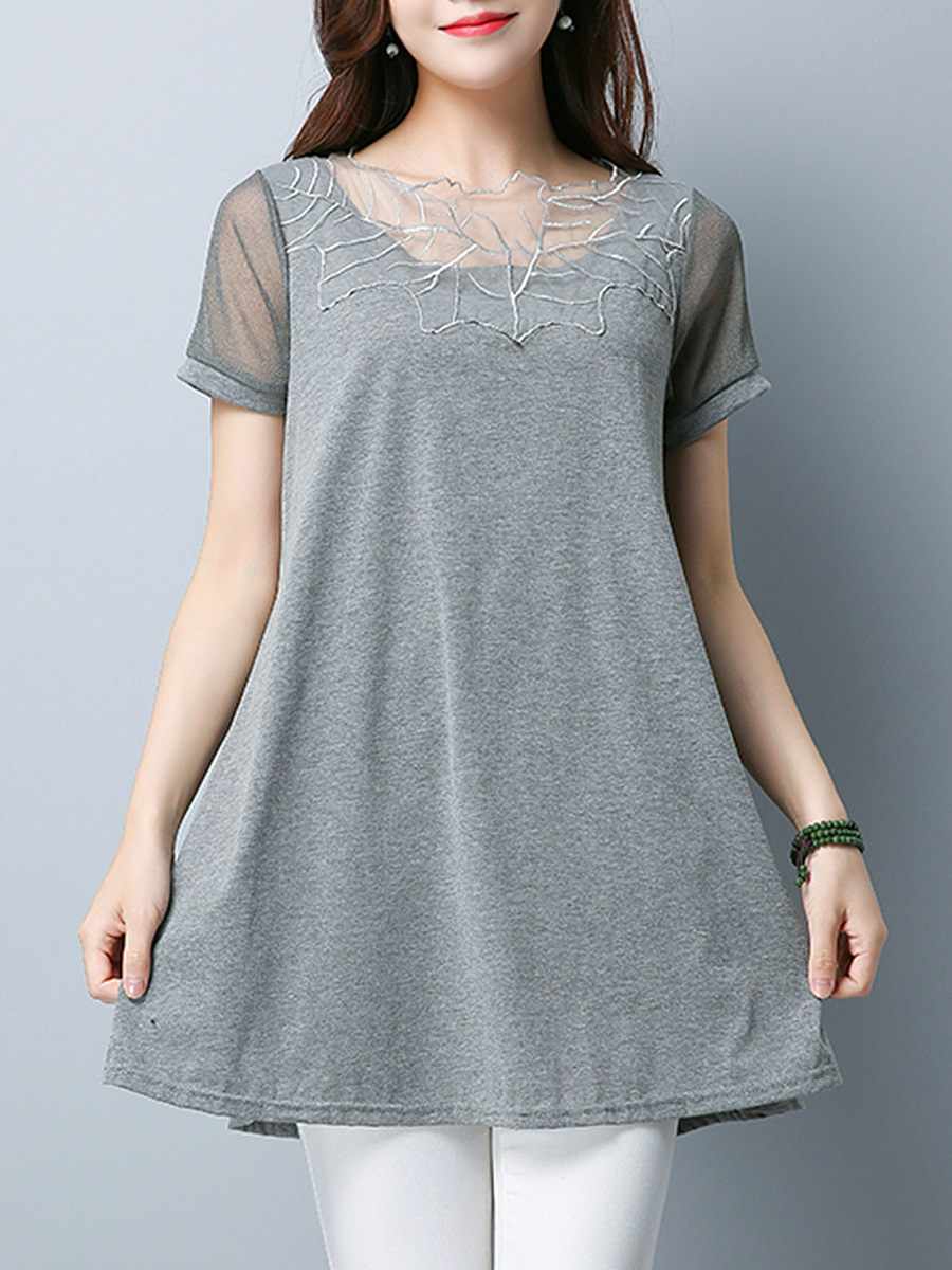 Decorative Lace Hollow Out Plain Short Sleeve T-Shirt
