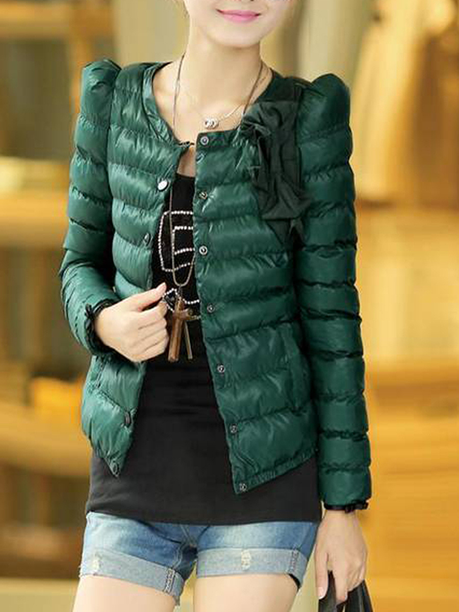 Single Breasted Bowknot Quilted Plain Padded Coat