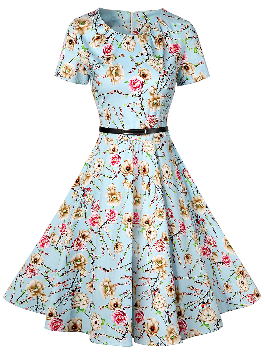 Fancy Floral Printed Round Neck Belt Skater Dress