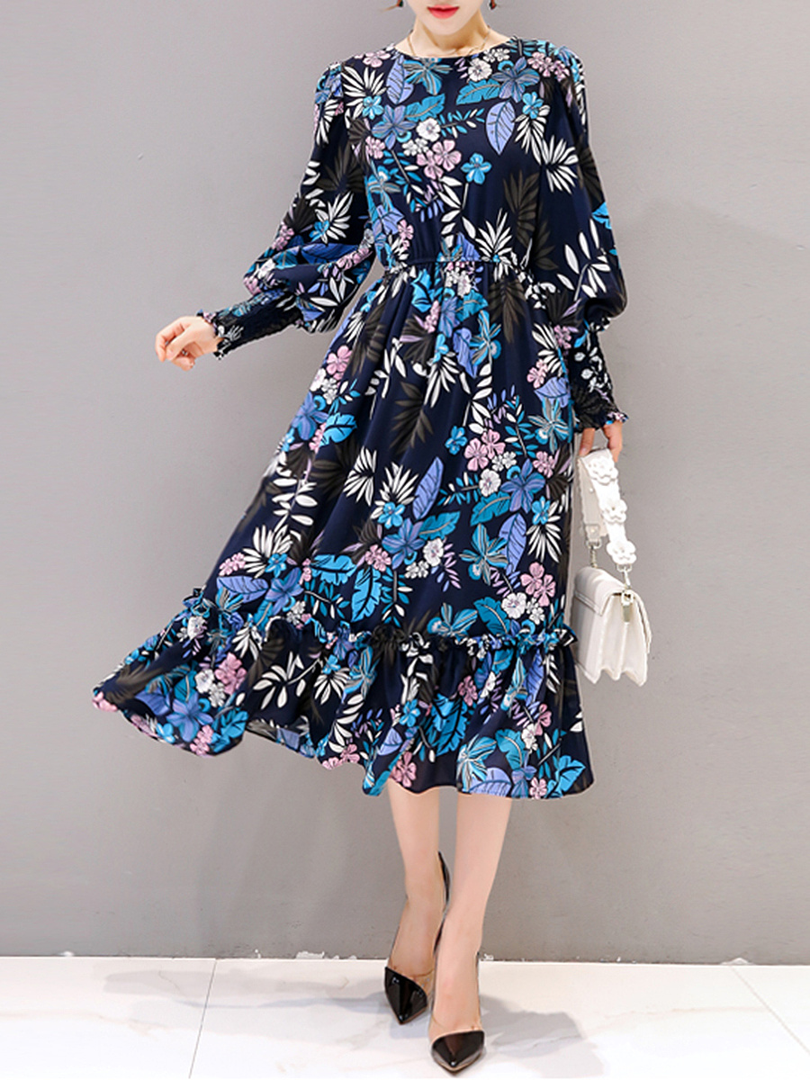 Crew Neck Ruffled Hem Printed Puff Sleeve Maxi Dress