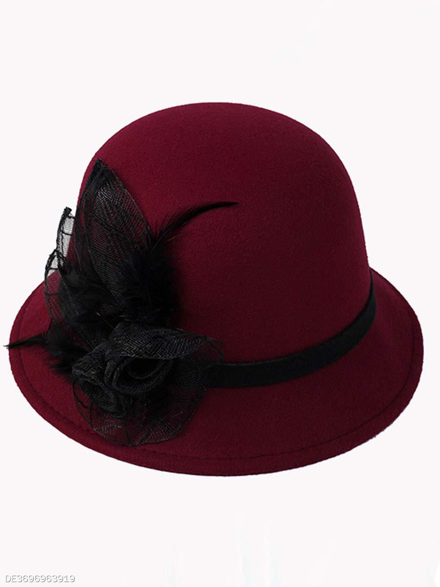 Woolen Decorative Lace Plain  Hats