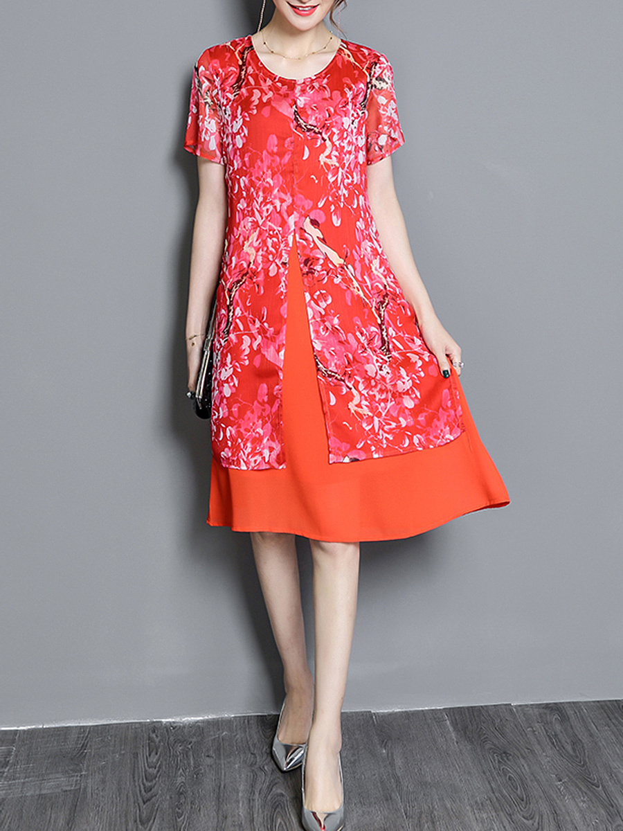 Fancy Floral Printed Round Neck Chiffon Shift Dress