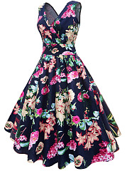 Vintage V-Neck Floral Printed Cotton Midi Skater Dress
