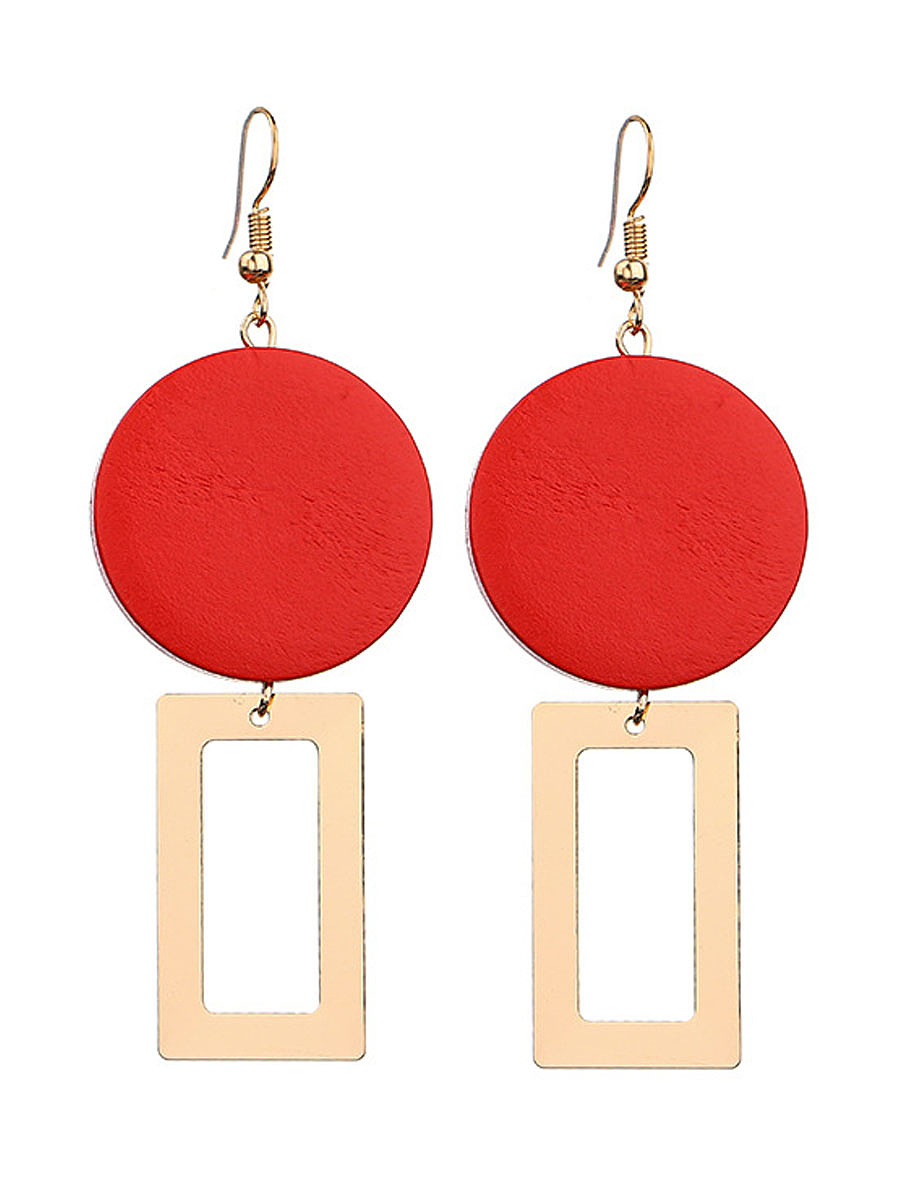 Geometric Round Pendant Red Earrings