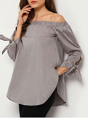 Spring  Polyester  Women  Off Shoulder  Asymmetric Hem  Plain  Tie Sleeve  Three-Quarter Sleeve Blouses