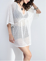 Deep V-Neck See-Through Plain Batwing Sleeve Tunic