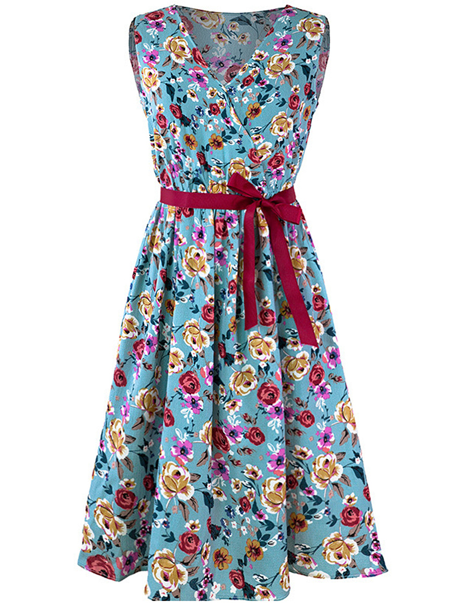 V-Neck  Bowknot Basic Floral Printed Skater Dress
