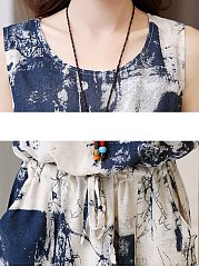 Round Neck Drawstring Pocket Printed Midi Skater Dress