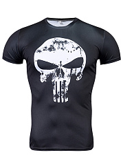 Mens Short Sleeve  Sports  Skull  Digital Print T-Shirts