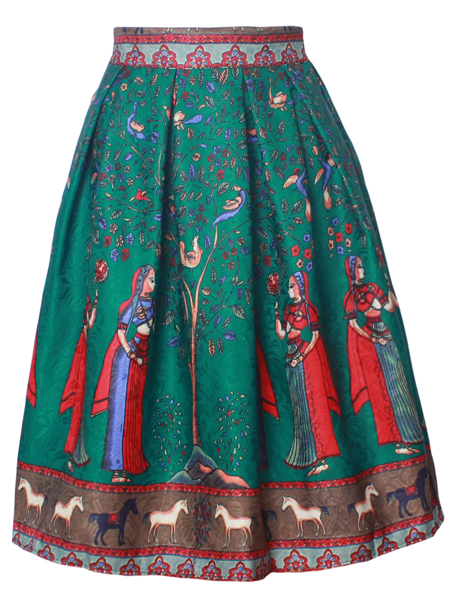 Inverted Pleat Elastic Waist Printed Flared Midi Skirt