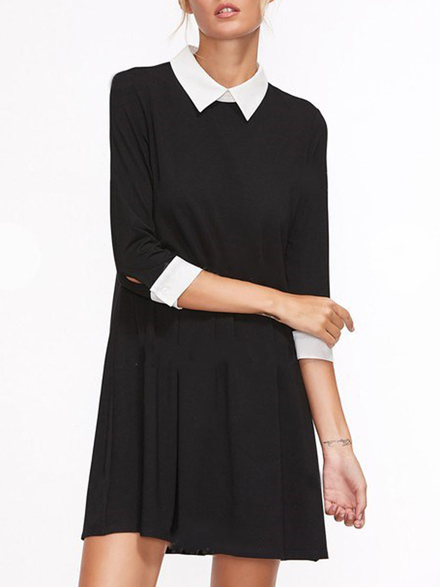 Fold-Over Collar  Color Block  Polyester Shift Dress