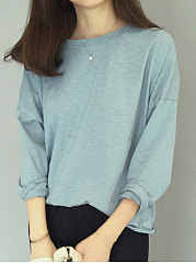 Autumn Spring  Cotton  Women  Round Neck  Plain Long Sleeve T-Shirts