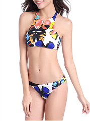 Round Neck  Lace-Up Patchwork  Printed Bikini