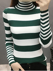 Turtleneck  Color Block  Long Sleeve Sweaters Pullover