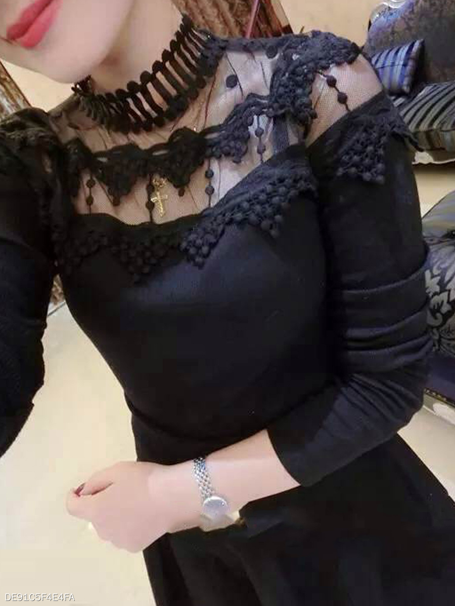 Autumn Spring  Cotton Lace  Women  Decorative Lace See-Through  Plain Long Sleeve T-Shirts