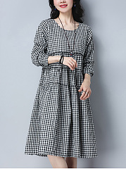 Plaid Round Neck Midi Skater Dress