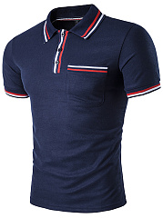 Polo Collar Men Striped Trim T-Shirt