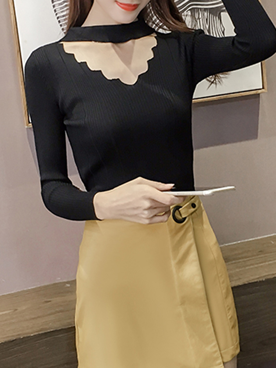 Band Collar  Cutout Solid Sweater