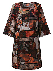 Round Neck  Abstract Print Shift Dress