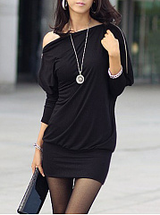 One Shoulder Zips Plain Batwing Sleeve Mini Bodycon Dress