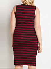 Round Neck  Striped Plus Size Bodycon Dress