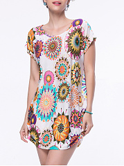 Fabulous Round Neck Printed Loose Mini Shift Dress