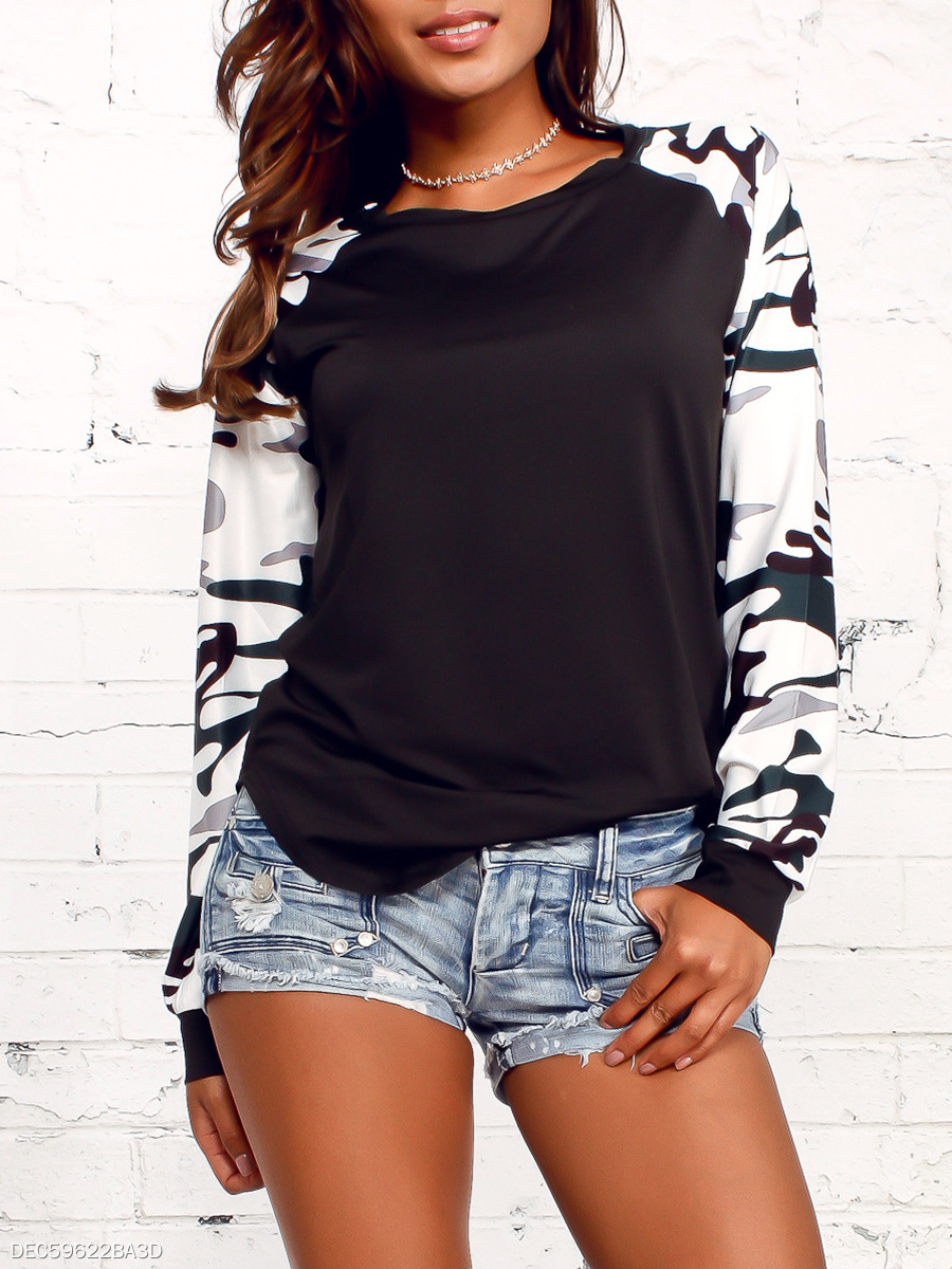 Round Neck  Patchwork  Printed Long Sleeve T-Shirt