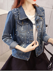 Beading Flap Pocket  Plain  Long Sleeve Jackets