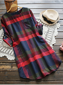 Round Neck  Patch Pocket  Casual Plaid Shift Dress