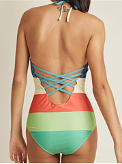 Backless  Rainbow Striped One Piece Swimwear