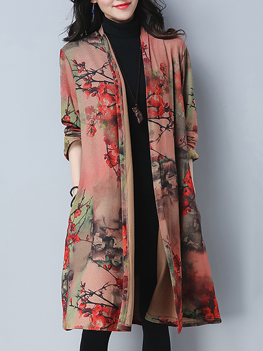 Collarless  Floral Printed  Long Sleeve Trench Coats
