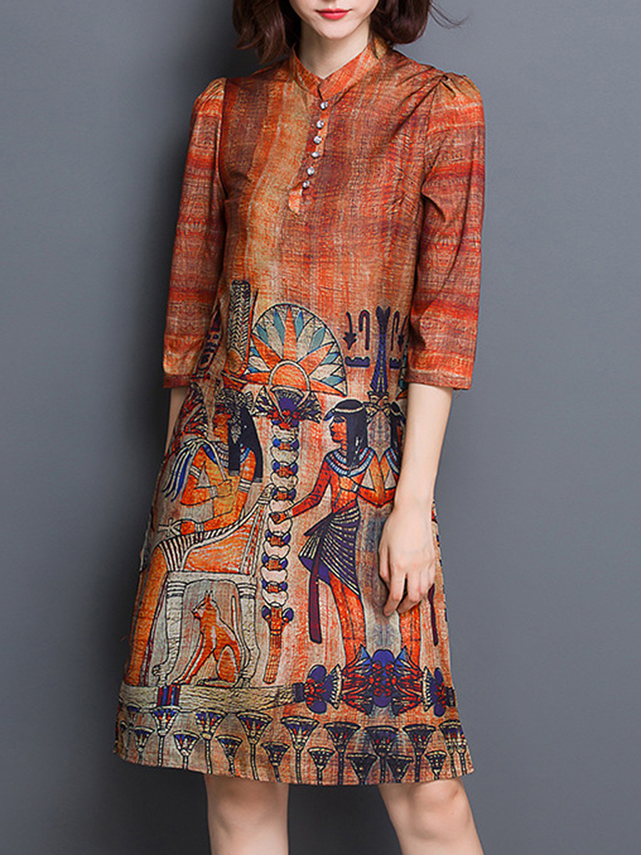 Band Collar Wall Painting Printed Shift Dress
