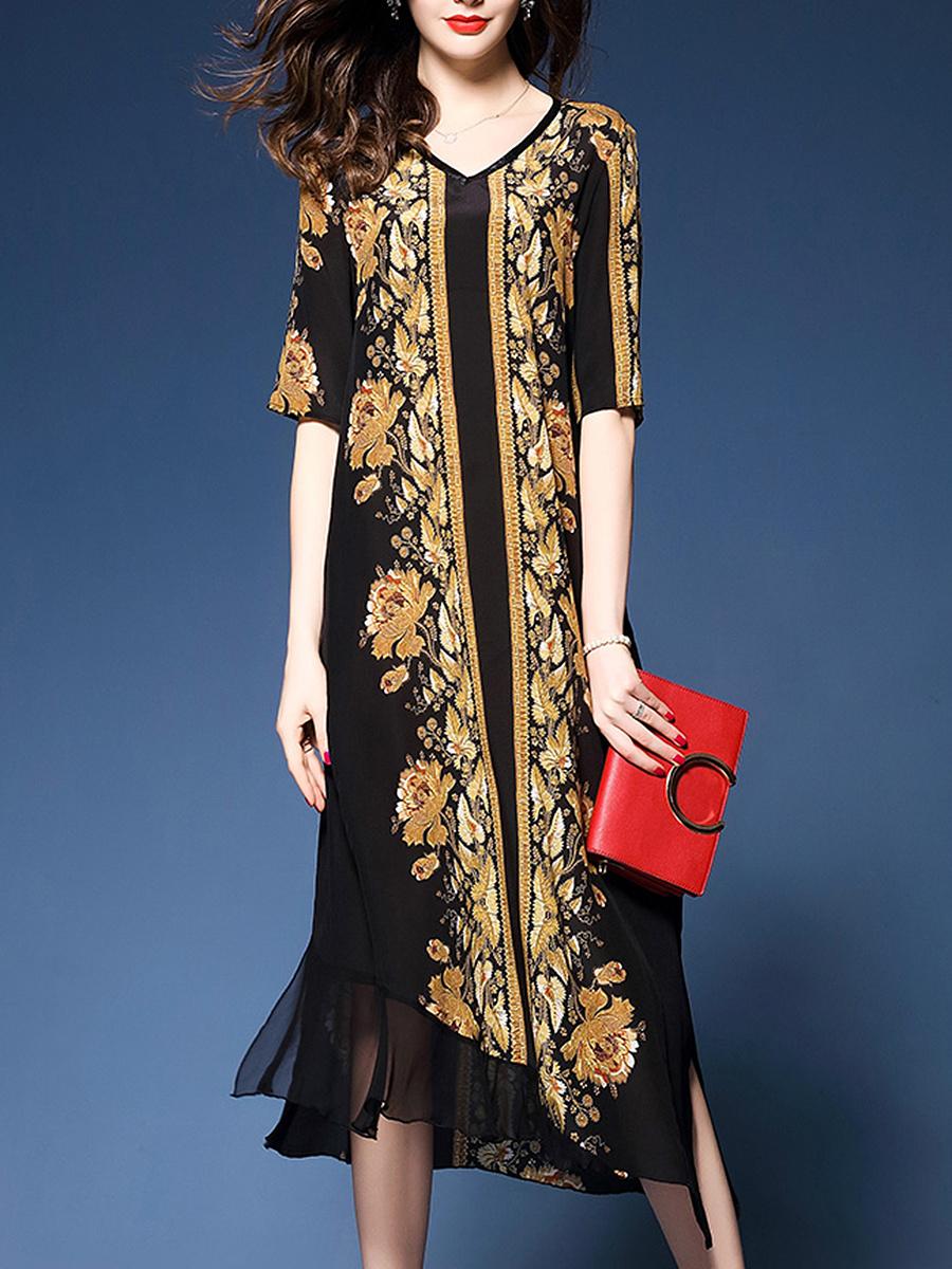 Vintage Printed V-Neck Summer Maxi Dress