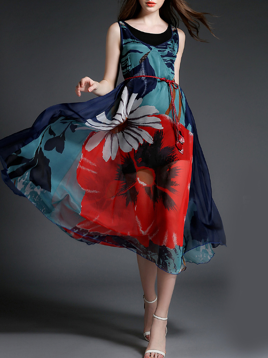 Round Neck  Belt  Printed  Chiffon Maxi Dress