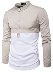 Band Collar Kangaroo Pocket Color Block Men Shirts