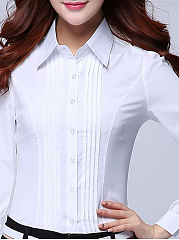 Autumn Spring  Polyester  Women  Turn Down Collar  Single Breasted  Plain Striped  Long Sleeve Blouses