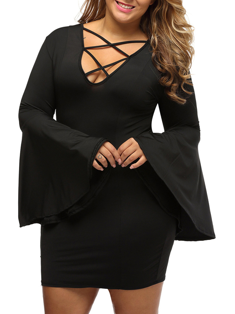 Bell Sleeve Deep V-Neck Lace-Up Plain Plus Size Bodycon Dress