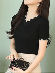 Contrast Trim Knit Short Sleeves Shirt