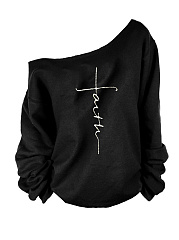 Shoulder Collar  Patchwork  Letters  Long Sleeve  T-Shirt