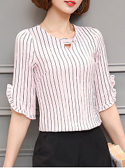 Summer  Cotton  Women  V-Neck  Flounce  Striped  Half Sleeve Blouses