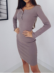 Round Neck  Single Breasted  Plain Bodycon Dress