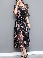 Round Neck  Elastic Waist See-Through  Printed Maxi Dress