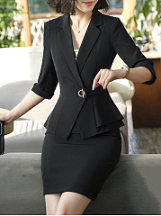 Fold-Over Collar  Flounce  Single Button  Plain  Half Sleeve Blazers