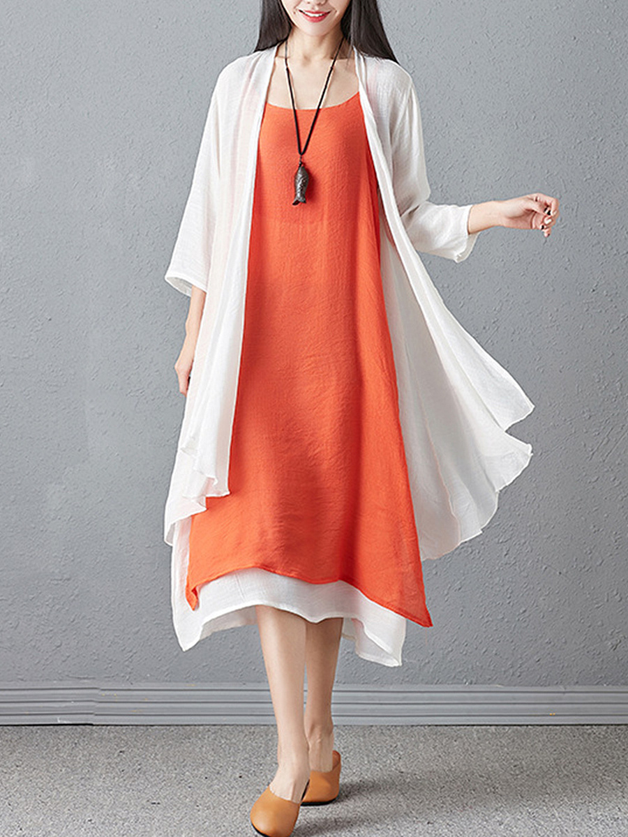 Round Neck  Asymmetric Hem  Color Block Two-Piece Maxi Dress