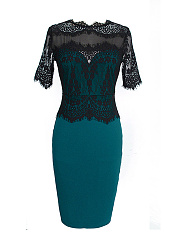 Band Collar  Lace Plain Plus Size Bodycon Dresses