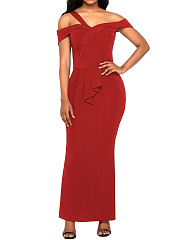 Open Shoulder Flounce Plain Evening Dress