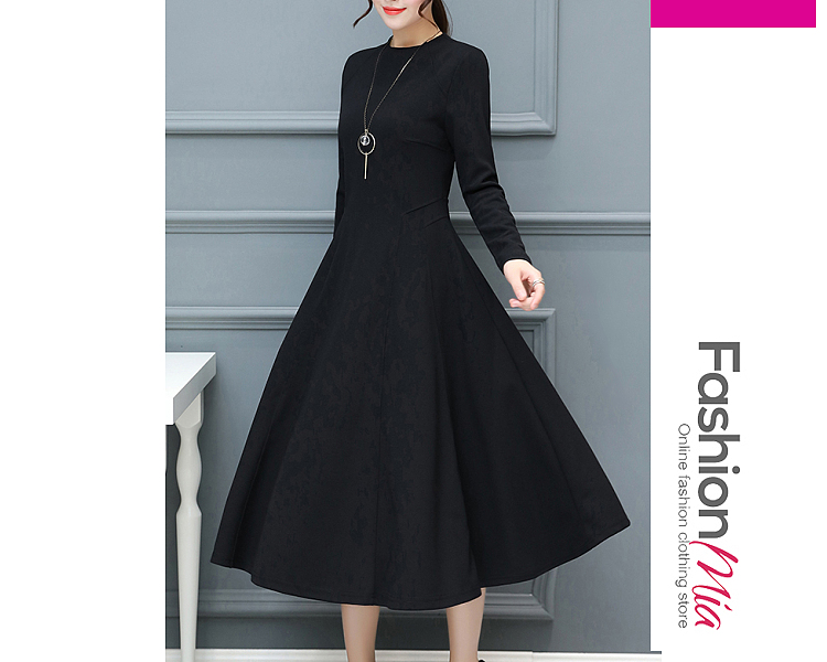 thickness:regular, brand_name:fashionmia, style:elegant*fashion, material:polyester, sleeve:long sleeve, pattern_type:plain, length:midi, how_to_wash:cold gentle machine wash, supplementary_matters:all dimensions are measured manually with a deviation of 2 to 4cm., occasion:club*date*office*party*semi-formal, season:autumn*spring*winter, dress_silhouette:flared, package_included:dress*1, length:110,bust:86,
