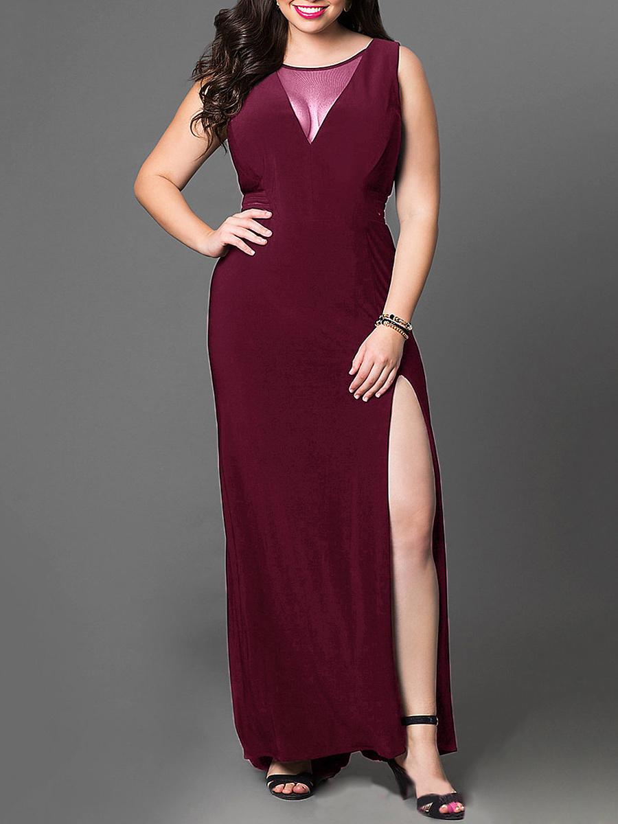 V Neck See Through Slit Plain Plus Size Midi Maxi Dresses