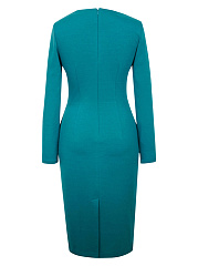 Graceful Sweet Heart Plain Long Sleeve Bodycon Dress